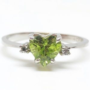 10k White Gold Genuine Peridot Diamond Heart Ring